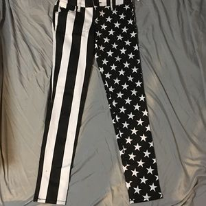 Stretch black and white Stars and Stripes jeans